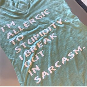 Allergic to Stupidity Sarcasm VNeck T-Shirt Mint